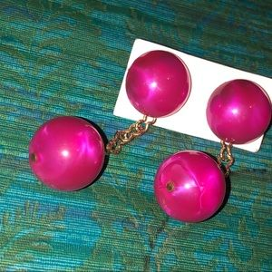 Hot Pink & Gold Tone Marbled Lucite Drop Earrings